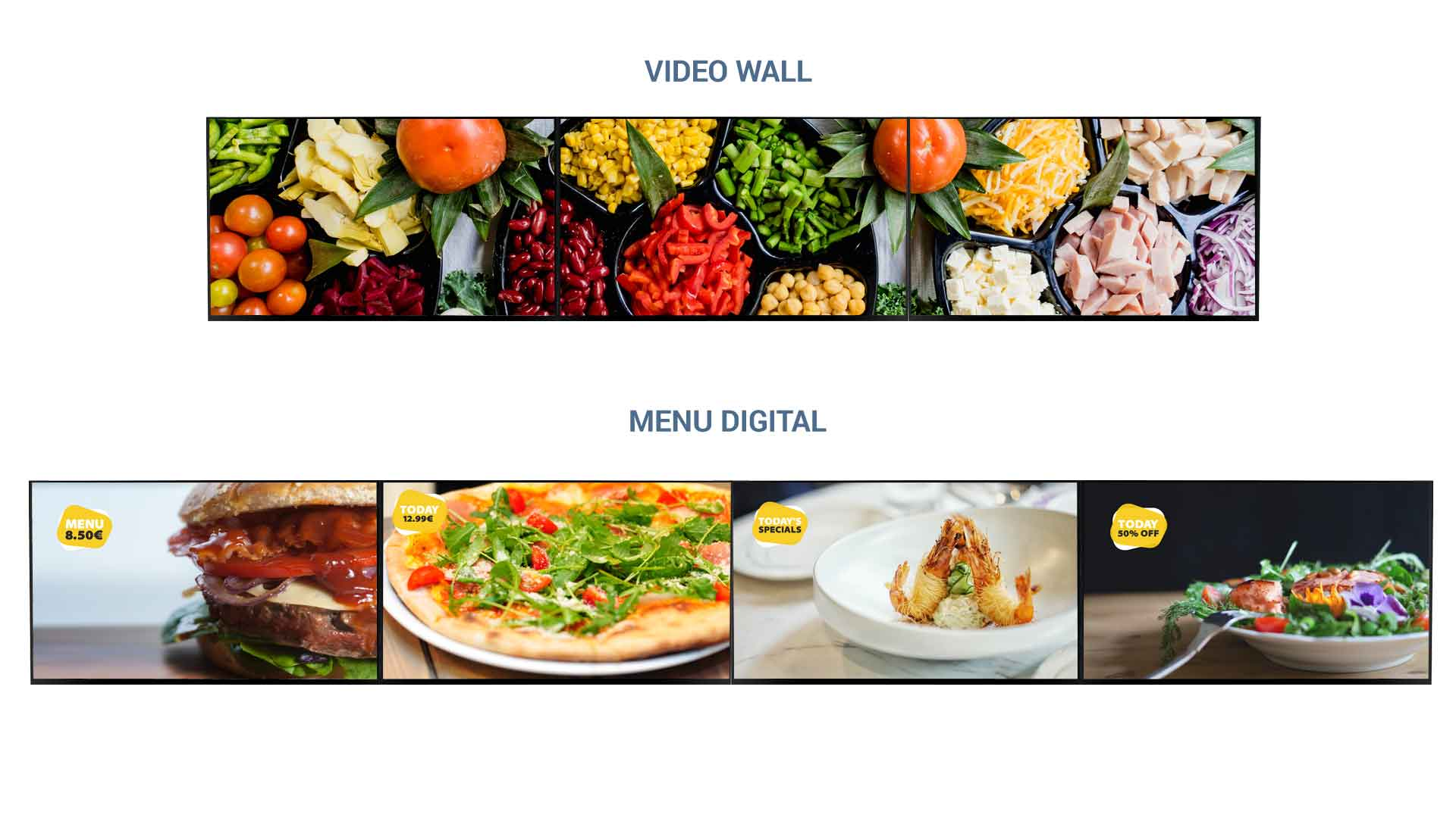 Menu Boards Digitais - Displays e Video Wall QMAGINE